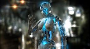 女性机器人字符 免版税库存图片