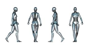 女性机器人步行圈 皇族释放例证