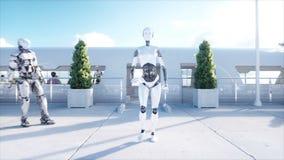 女性机器人走 科学幻想小说驻地 未来派单轨铁路车运输 未来的概念 人们和机器人 现实4k 库存例证