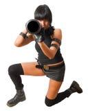 女性枪榴弹发射器军事瞄准年轻人 图库摄影