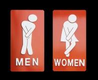 女性标志和黑背景的男性卫生间 图库摄影