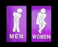 女性标志和黑背景的男性卫生间 库存照片