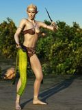 女性森林地矮子战士 免版税库存图片