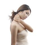 女性模型脖子痛症状 免版税库存照片
