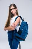 女性横渡的少年常设胳膊 免版税库存照片