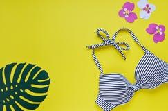 女性比基尼泳装泳装和草帽,夏时顶视图舱内甲板放置黄色背景拷贝空间横幅概念,热带叶子flo 库存图片
