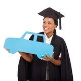 女性毕业生汽车标志 免版税库存照片