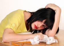 女性沮丧的学员 库存图片