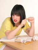 女性沮丧的学员 免版税库存照片