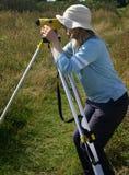 女性测量员 免版税库存照片