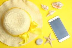 女性海滩帽子 库存图片