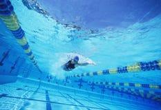 年轻女性游泳者在竞争中 免版税库存图片