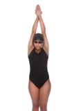 年轻女性游泳者画象  免版税库存照片