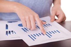 女性现有量和业务单据 免版税图库摄影