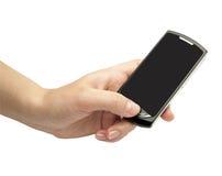 女性现有量拿着移动电话 免版税图库摄影