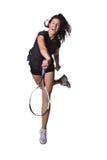 女性球员俏丽的网球 免版税库存图片