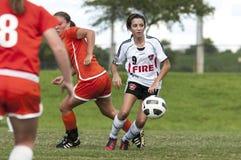 女性球员足球 免版税库存照片