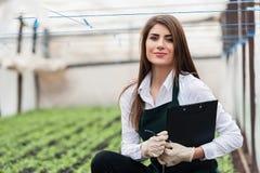 女性生物技术员特写镜头自温室 库存图片