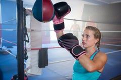 年轻女性由拳击台的拳击手沙袋 图库摄影