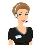 女性电话中心操作员-被隔绝 免版税库存照片