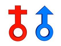 女性男性符号 免版税库存照片