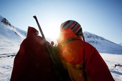 女性登山家 库存照片