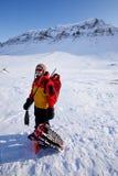 女性登山家 免版税库存图片