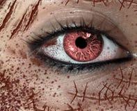 女性的恐怖眼睛特写镜头视图以在面孔的许多伤痕 免版税库存照片