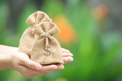 女性的手拿着大袋贸易的想法的金钱 或者金融投资 免版税库存图片