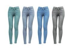 女性皮包骨头的牛仔裤 免版税库存图片