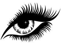 女性眼睛黑色剪影 免版税图库摄影