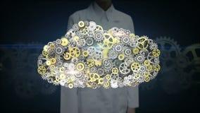 女性研究员,设计触摸屏,做云彩计算机服务器形状的齿轮 人工智能 皇族释放例证