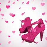 女性穿上鞋子背景 图库摄影