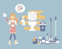女性管家、妇女藏品洗手间刷子和海绵,清洗的洗手间,有拖把的,笤帚,容器,桶,差事概念卫生间 库存例证