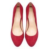 女性红色绒面革鞋子 库存图片