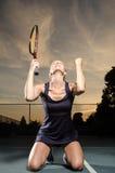 女性网球员庆祝 库存照片