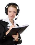 女性耳机运算符 免版税库存图片