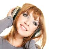 女性耳机 图库摄影