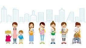女性育儿和照料者-都市风景背景 向量例证