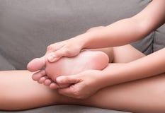 女性脚脚跟痛苦,Sesamoiditis综合症状 图库摄影