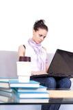 女性膝上型计算机teeranger工作 库存图片