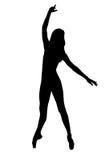 女性舞蹈家剪影黑白的 免版税库存照片