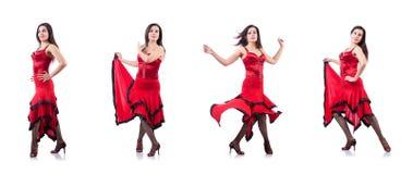 女性舞蹈家跳舞的西班牙人舞蹈 免版税库存图片