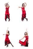女性舞蹈家跳舞的西班牙人舞蹈 免版税图库摄影