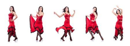 女性舞蹈家跳舞的西班牙人舞蹈 免版税库存照片