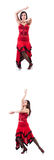 女性舞蹈家跳舞的西班牙人舞蹈 库存照片