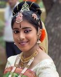 女性舞蹈家画象,印度 免版税图库摄影