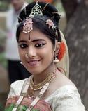 女性舞蹈家画象,软的颜色,印度 免版税库存图片