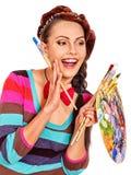 女性艺术家在工作 图库摄影
