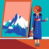 女性艺术家绘画山 免版税库存照片